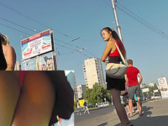 Girl in long skirt gives great sitting upskirt view AD3F