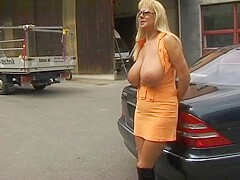 Flashing big tits