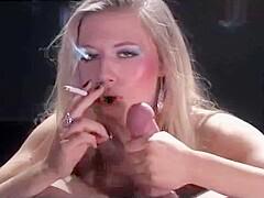 blonde slut smoking blowjob