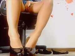 Strip with heels fuck in nylons
